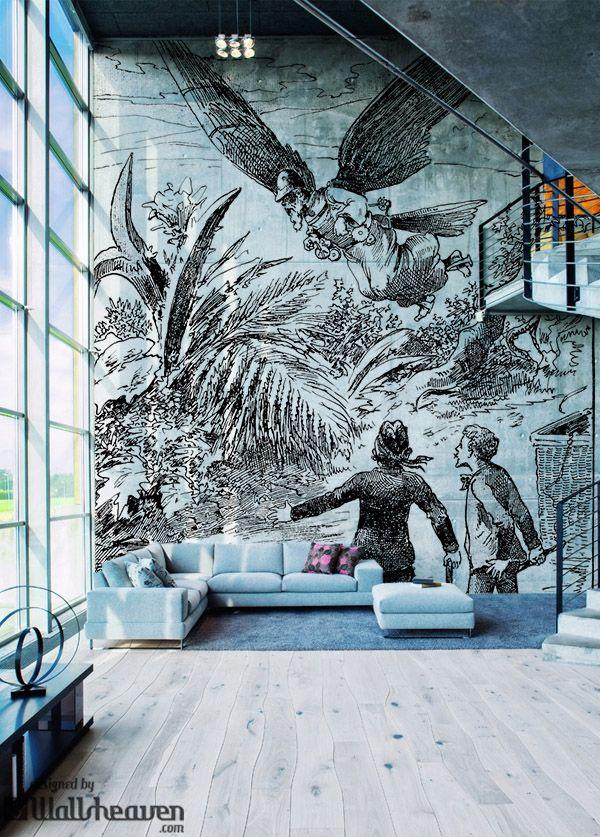 Fantasy A Flying Man 19th Century Wall Mural Wallpaper Murals Wall Murals Steampunk Interior Mural Wallpaper
