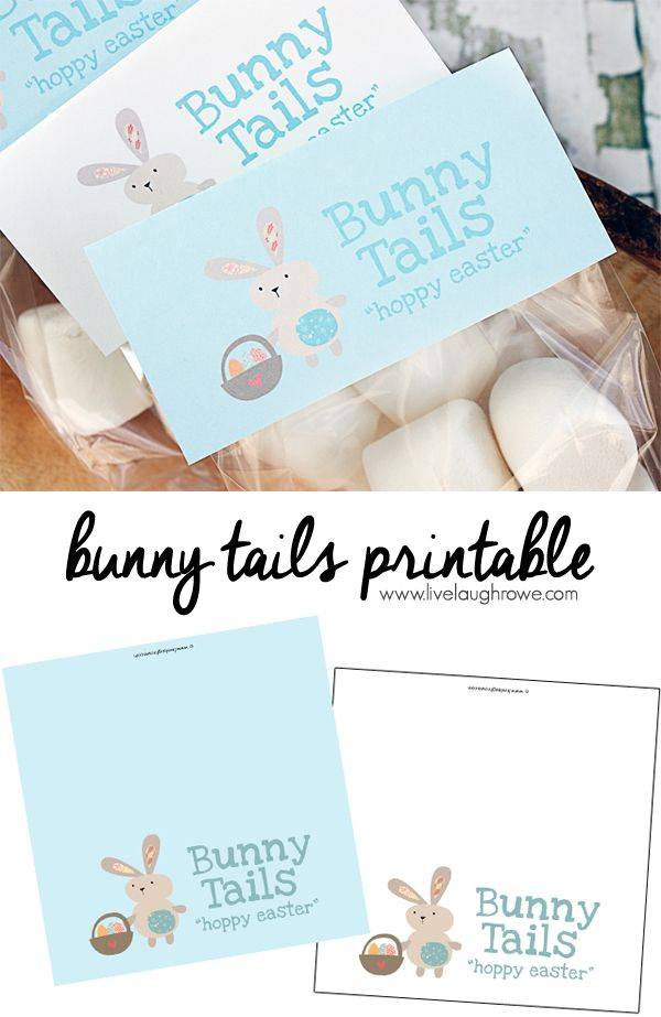 Bunny tails printable sweet bag toppers to use for packaging up sweet bag toppers to use for packaging up marshmallows as bunny tails for gift giving to classmates and friends negle Images
