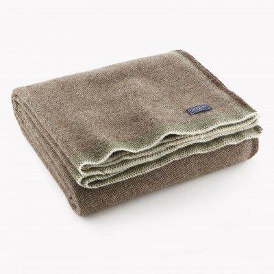 Herringbone Wool Throw Mahogany Brown 170 Dimensions