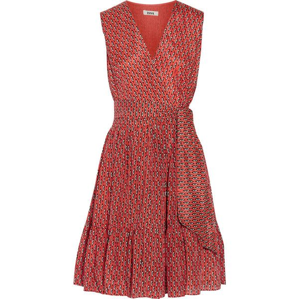 Issa Printed silk and cotton-blend wrap-effect dress (3.975 ARS) ❤ liked on Polyvore featuring dresses, orange, red wrap around dress, orange dress, cotton blend dresses, silk dress and red wrap dress