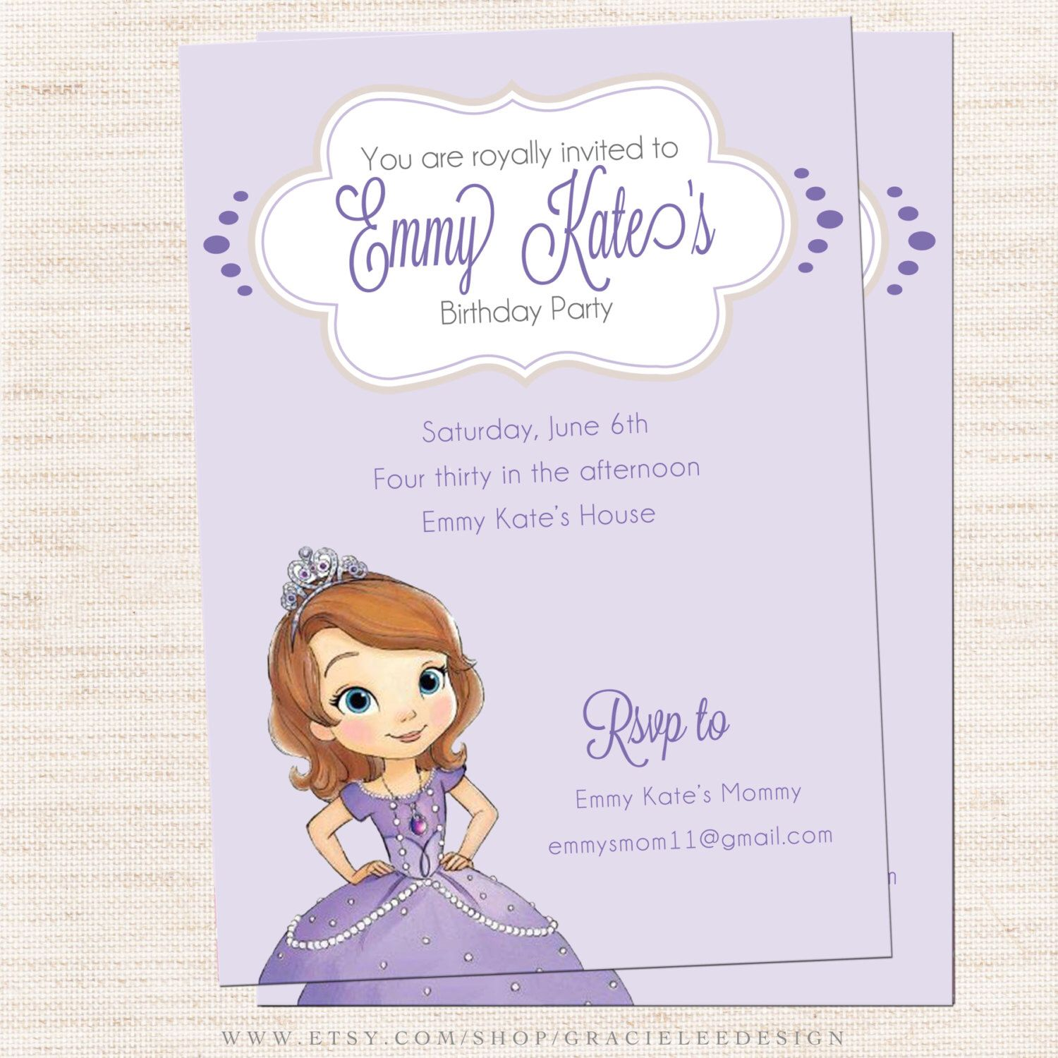 Princess Sofia Party Invitations Image collections - Party ...
