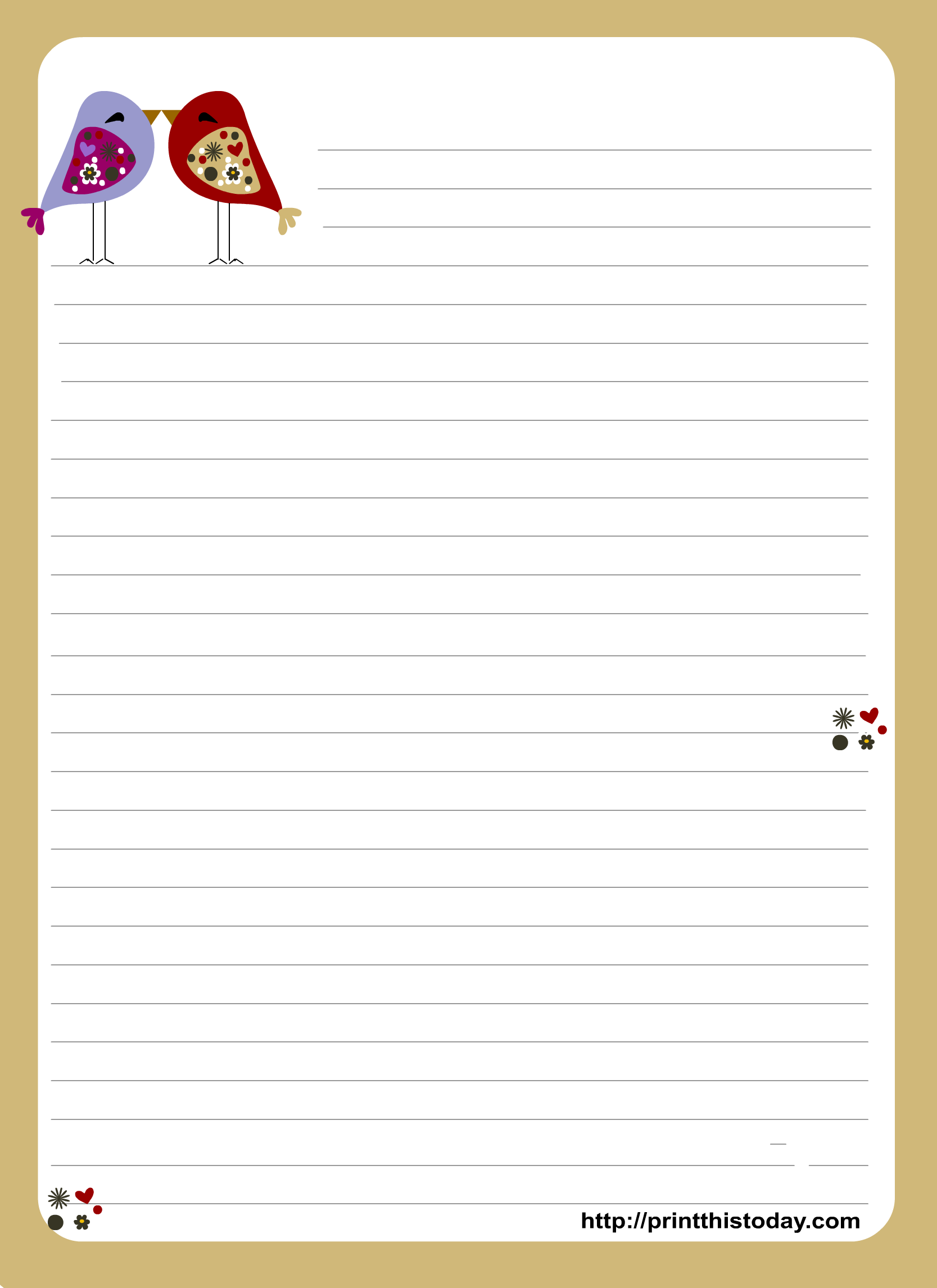 heart shaped writing template - this is an adorable love letter pad stationery design
