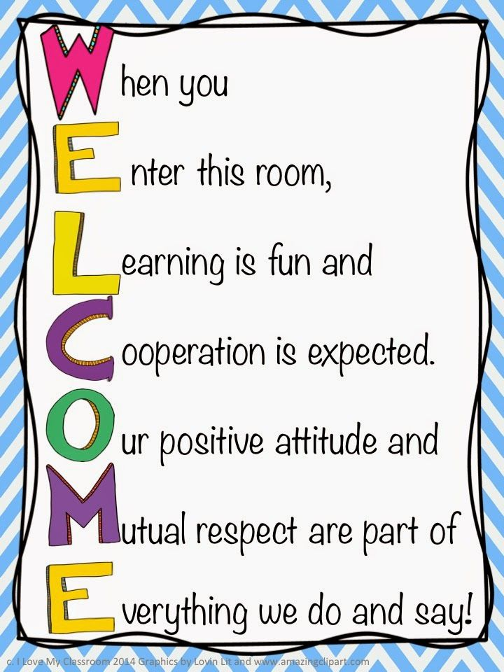 Welcome Charts For Classroom Decoration ~ Welcome door sign i love my classroom decor