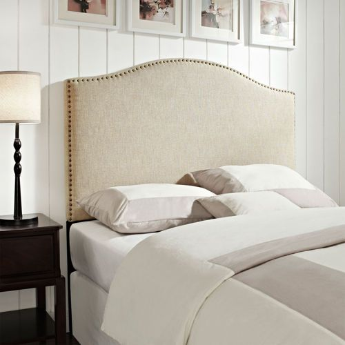 Lovely Carlton Upholstered Cal King Headboard With Comforters And Pillows