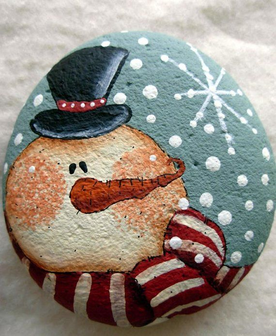Snowman and Snowflake Hand Painted Rock, Original