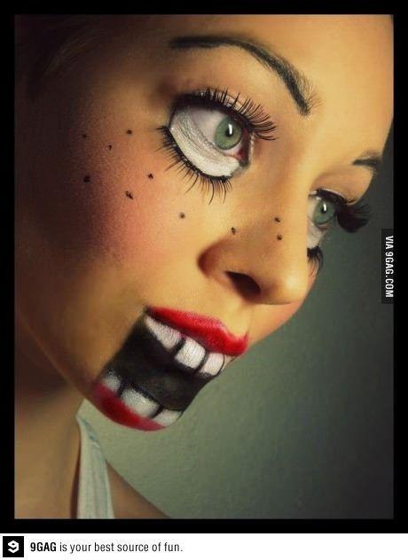 Creepy doll makeup....great halloween idea