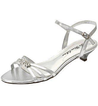 "Womens Silver Evening Shoe 2"" heel"