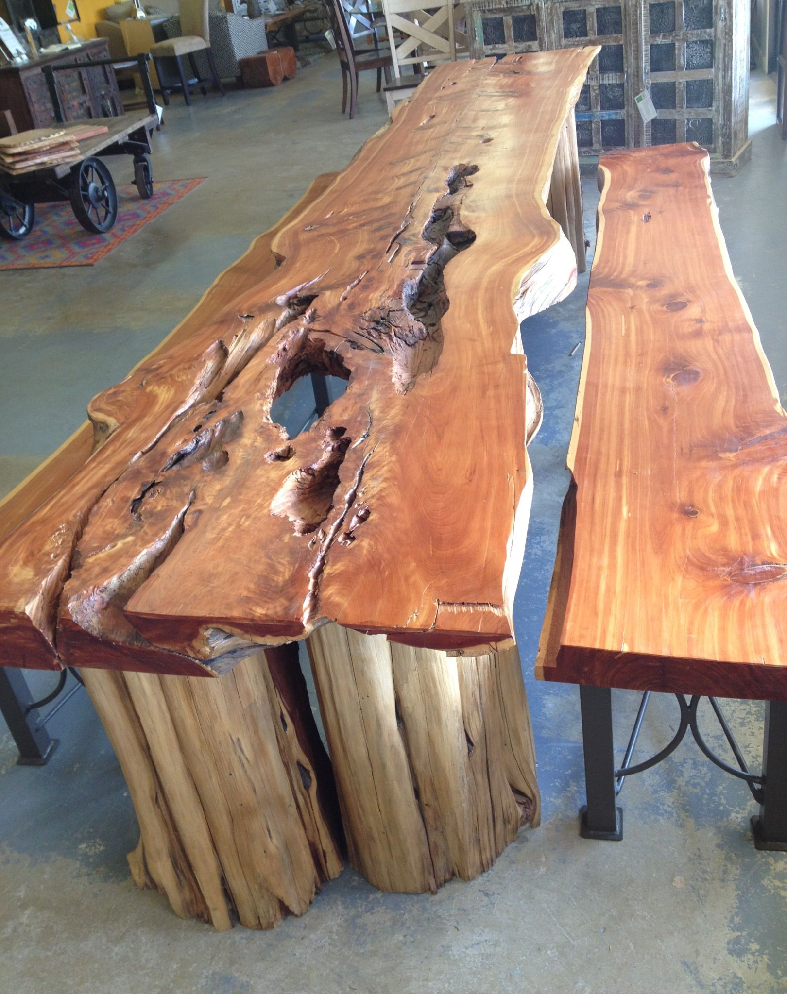 Live Edge Banquet Table Crafted From Solid Cedar Planks