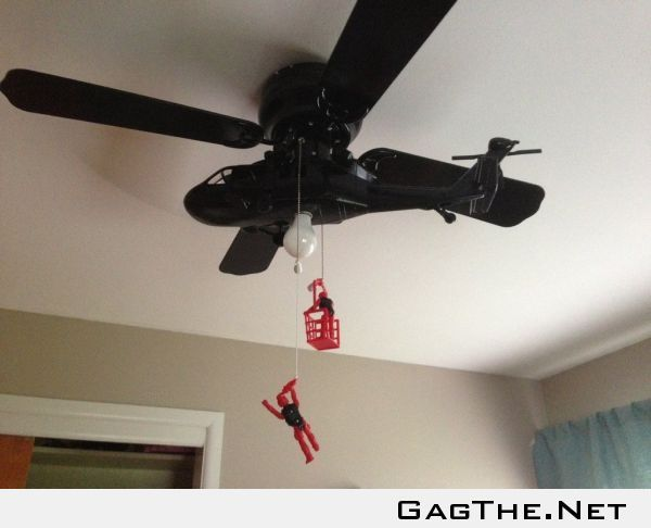 I made my son a helicopter ceiling fan!