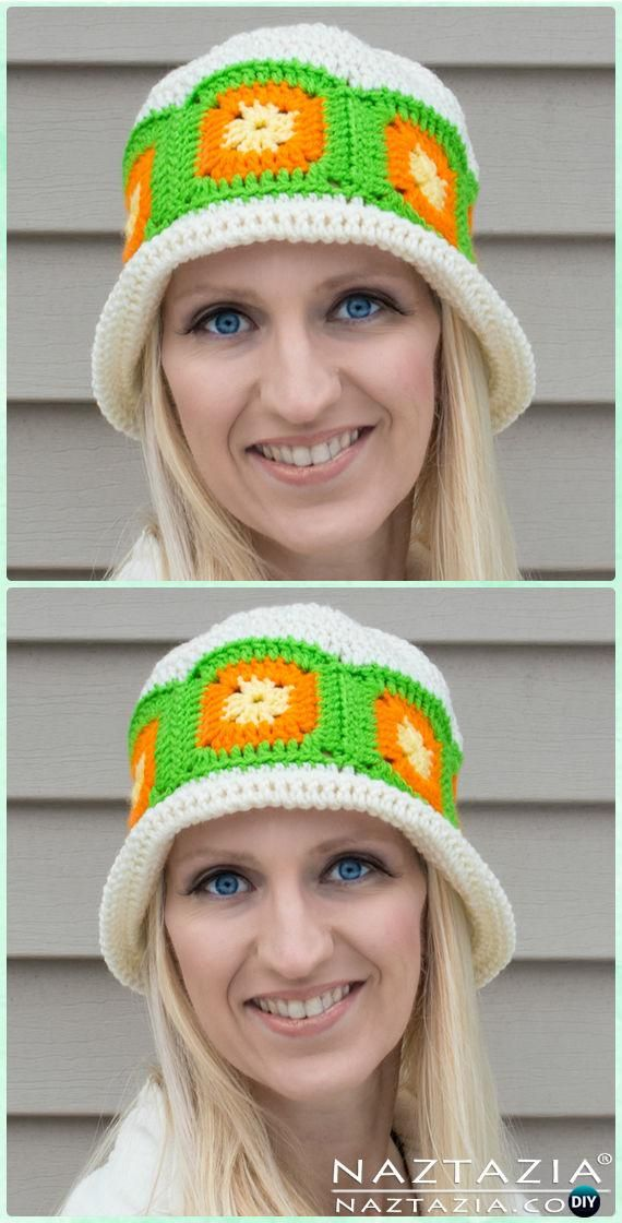 Crochet Citrus Splash Granny Square Sun Hat Free Pattern - Crochet ...