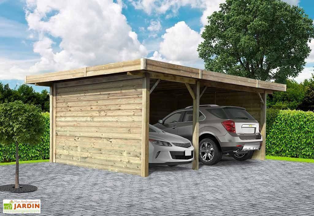 Carport en Bois Traité Autoclave (7x5m) Ports de voiture