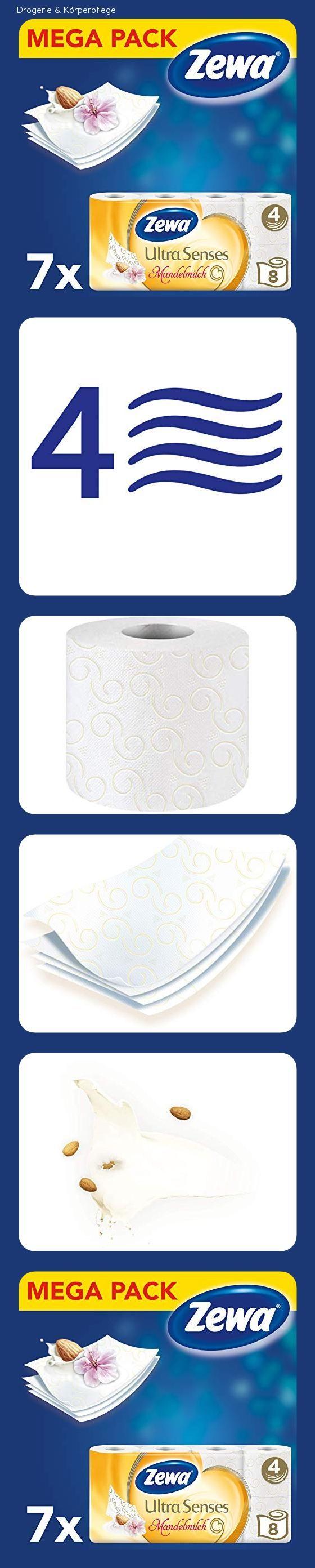 Zewa Toilettenpapier Trocken Ultra Senses Riesenpackung 7 X 8