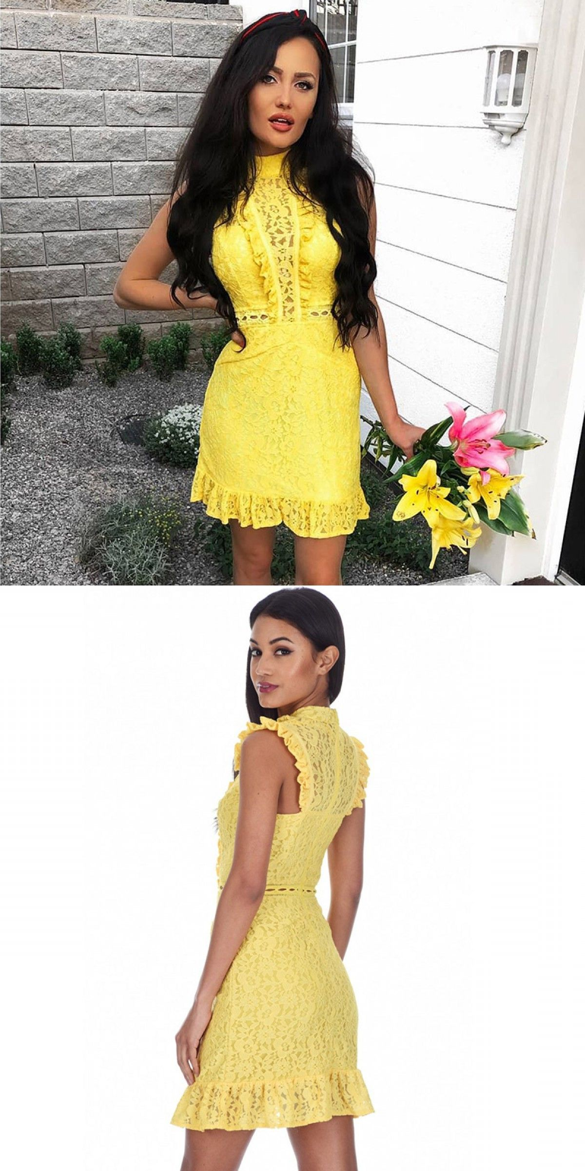 Sheath high neck yellow lace homecoming dress homecoming dresses