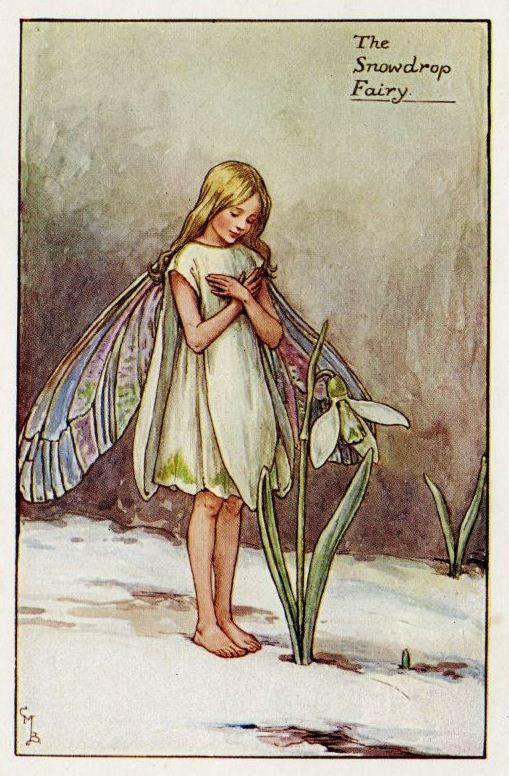 Snowdrop Flower Fairy Vintage Print 1930 S Cicely Mary Barker Spring Fairy Book Plate Nursery Decor Wall Art Decoration Flower Fairies Cicely Mary Barker Vintage Fairies