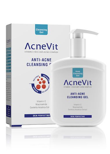 ACNEVIT CHỐNG MỤN  TẨY GEL chăm sóc da tốt đóng một vai trò quan trọng trong việc điều trị mụn trứng cá và bước đầu tiên là một rửa hàng ngày thích hợp mà combats nhiều nguyên nhân gây mụn.  Acnevit Anti-Acne Gel Rửa nhẹ nhàng làm sạch sâu vào lỗ chân lông cho làn da mịn màng. Nhờ sự kết hợp hiệu quả của Niacinamide, Rosemary Leaf Extract, Centella Asiatica Extract, nho giống Extract và Allantoin, Núm vú giả da tinh tế của nó giúp ngăn ngừa kích ứng, qua sấy khô và hydrat và bảo vệ da.