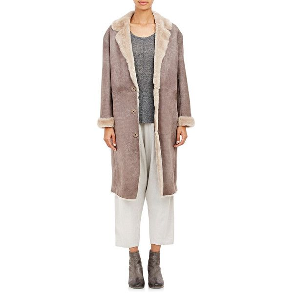 Pas de Calais Mouton Shearling Long Coat (29,500 CNY) ❤ liked on Polyvore featuring outerwear, coats, grey, long gray coat, long grey coat, grey coat, long shearling coat and sheep fur coat