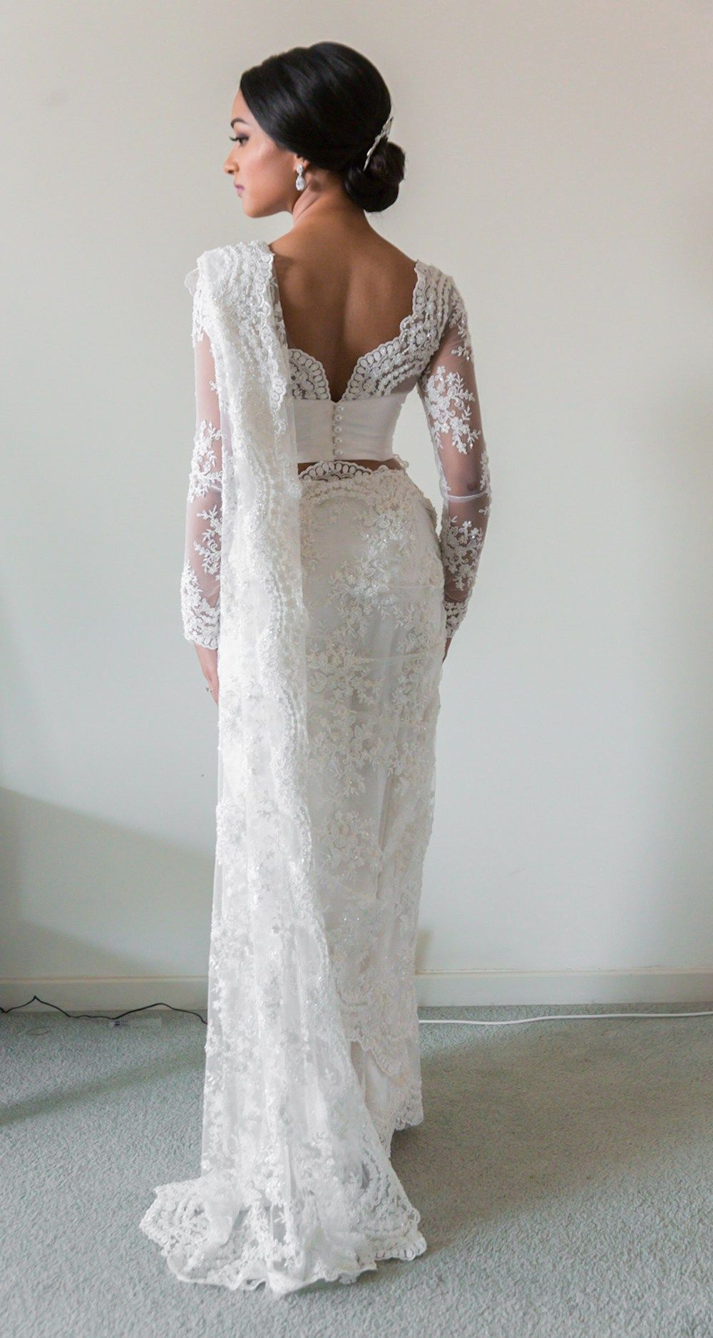 South asian wedding dresses  White Bridal Lace Saree  South Asian Wedding Blog  Think Shaadi