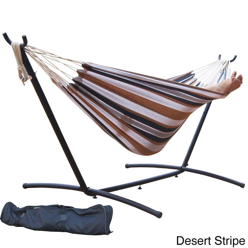 Prime garden foot double hammock and steel hammock stand cherry