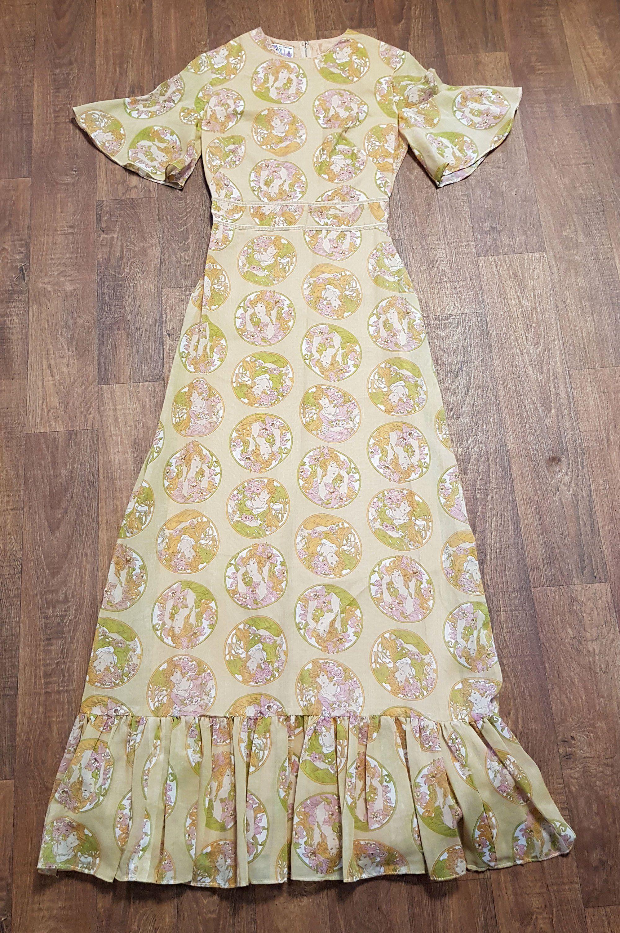 1970s Vintage Pre Raphaelite Print Maxi Dress Uk Size 8 Vintage Dresses Maxi Dresses Uk Printed Maxi Dress Vintage Dresses [ 3009 x 2000 Pixel ]