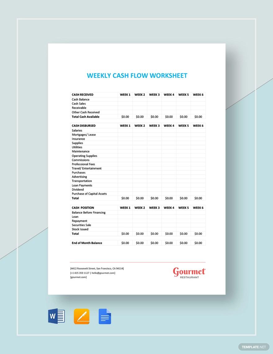 Weekly Cash Flow Worksheet Worksheet template