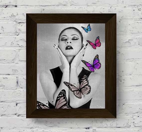 fashion print woman portrait black white prints sensual | Wall Art ...