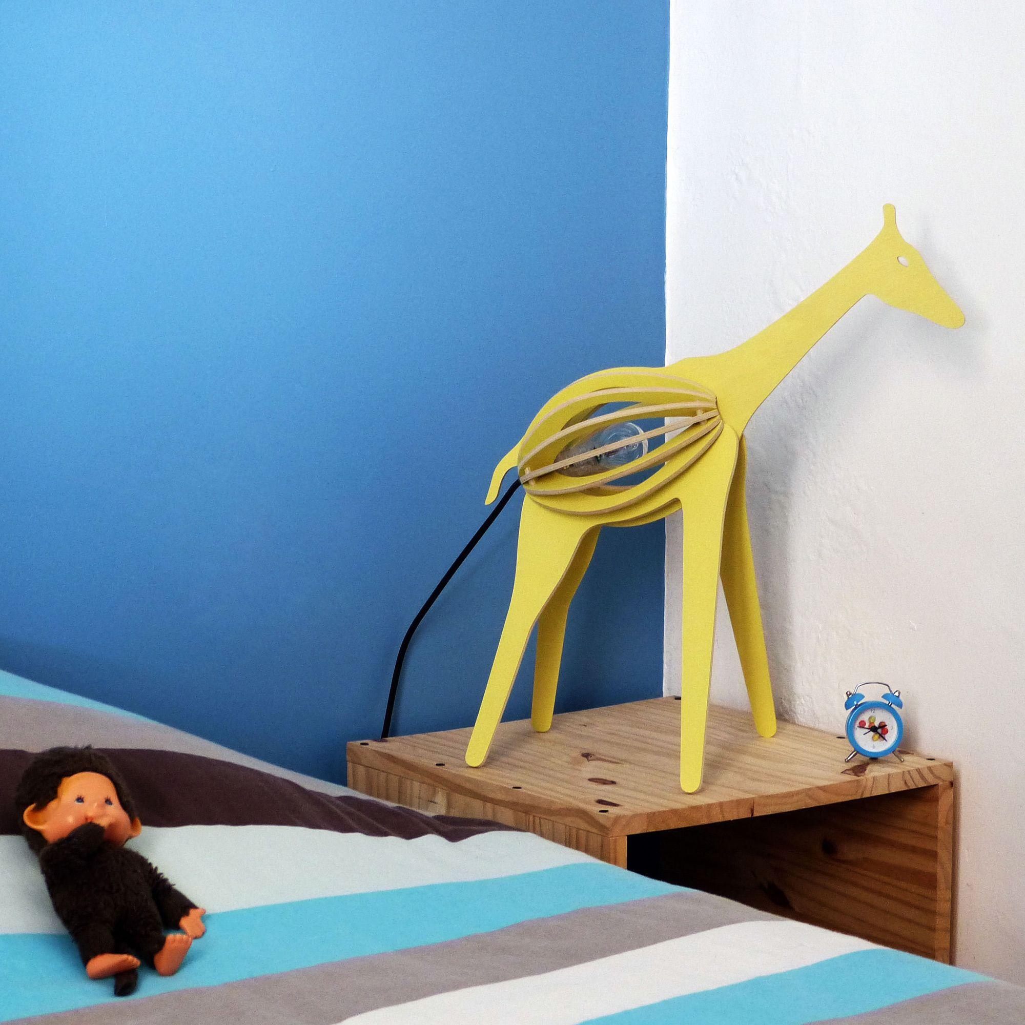 Lampe  poser Girafe Peuplier Jaune H51cm ZOOO