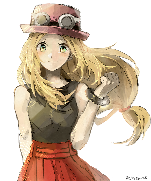 Anime Picture Search Engine 1girl Blonde Hair Bracelet Bust Green Eyes Hat Jewelry Long Hair Looking At Viewer Low Pokemon Sketch Pokemon Pokemon Characters