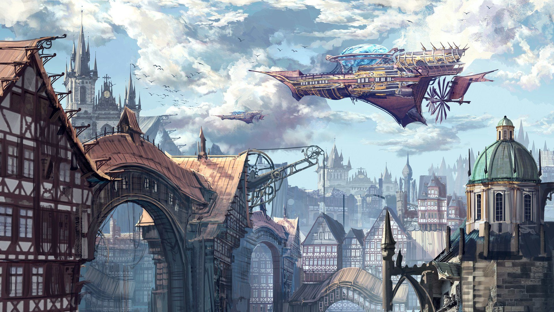 steampunk city wallpaper
