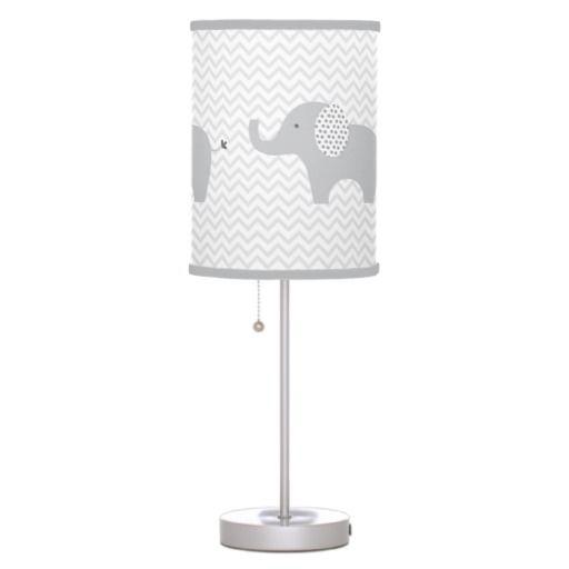 Cute Grey Chevron Elephant Nursery Table Lamp Zazzle Com Nursery Lamp Elephant Nursery Chevron Elephant Nursery
