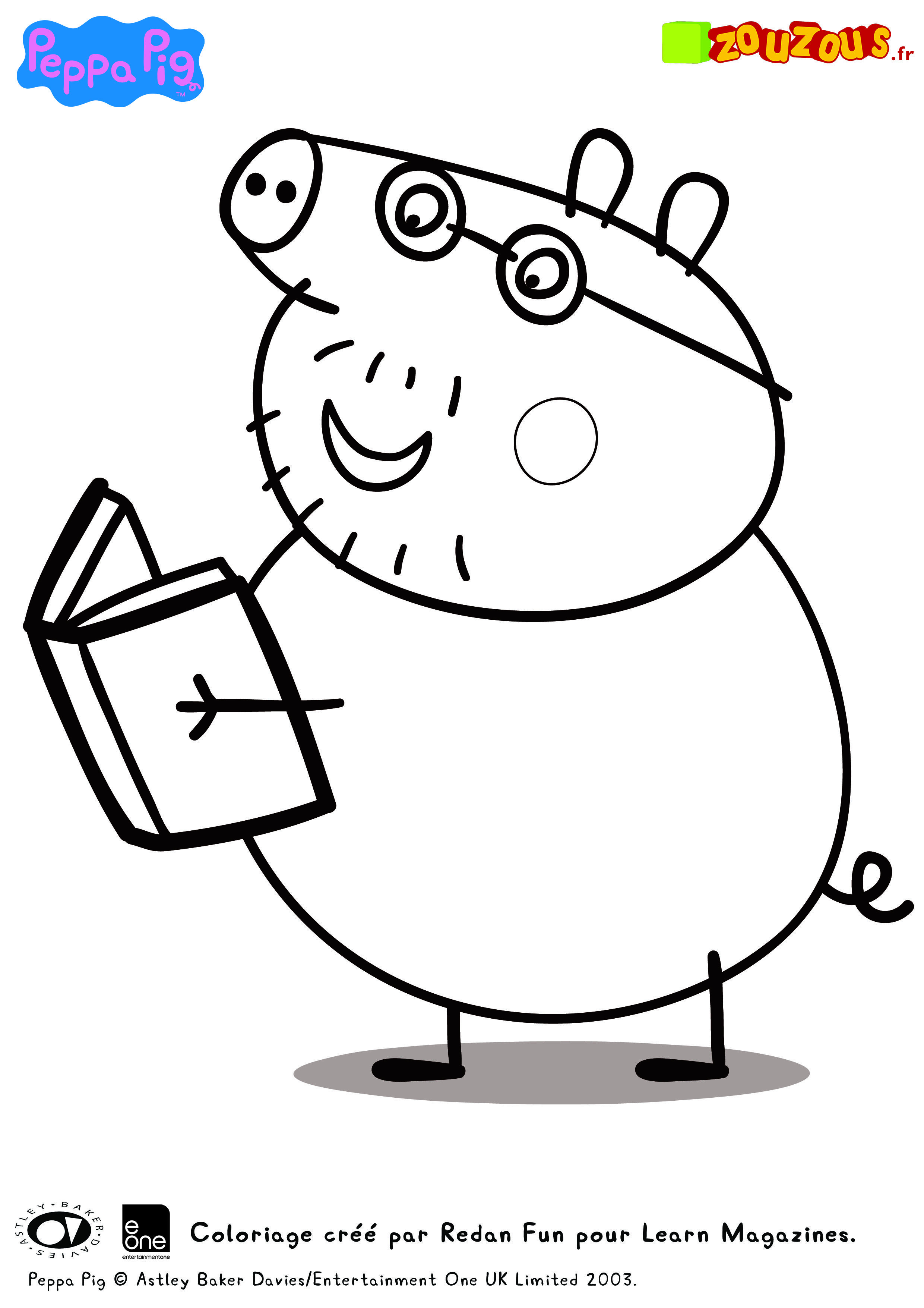 peppa pig and family driving coloring page for kids printable