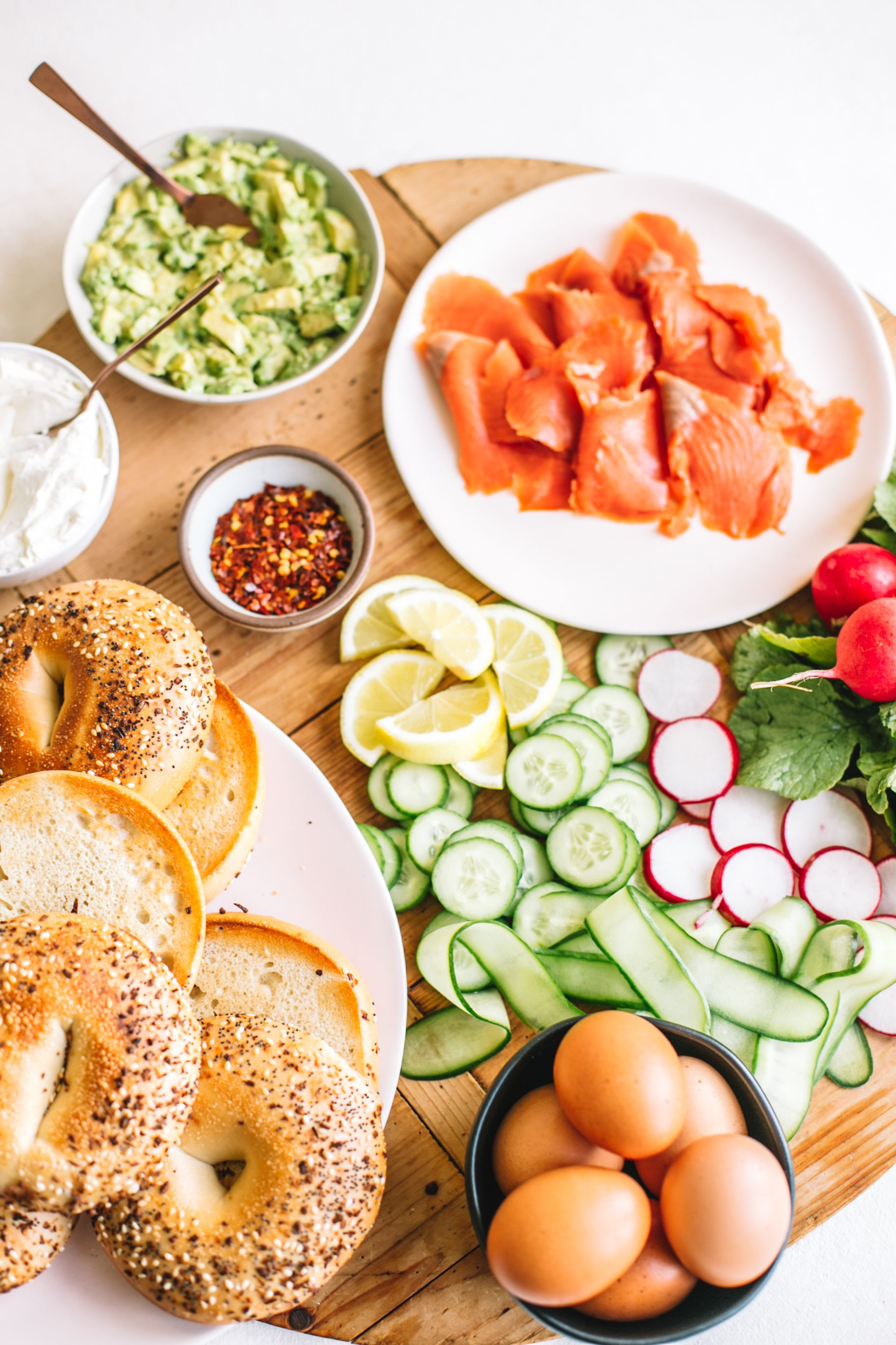 Smoked Salmon Bagel with Mashed Avocado images