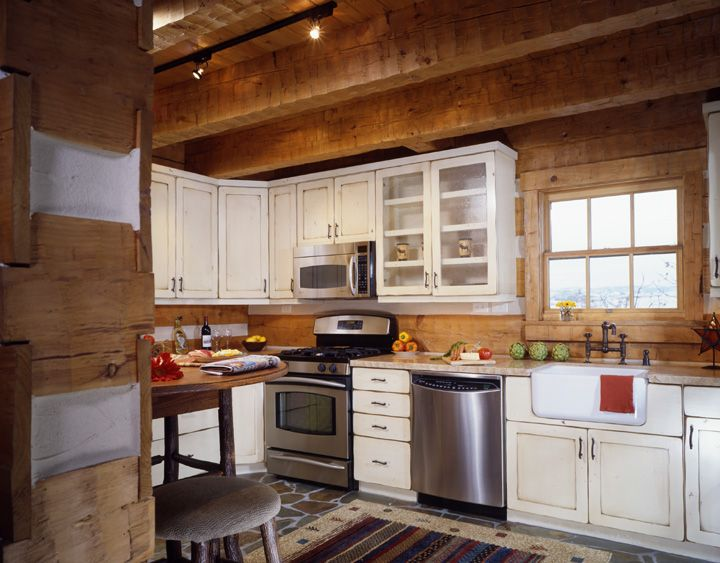 Download Wallpaper White Kitchen Cabinets In Log Cabin