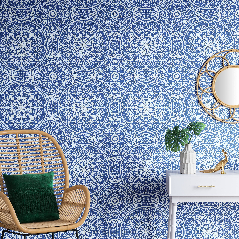 Cadiz Medallion Peel Stick Wallpaper Capri Blue Opalhouse Removable Wallpaper Opalhouse Wallpaper Accent Wall