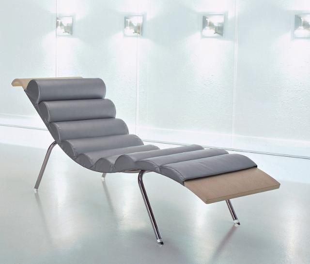 Black Leather Chaise Lounge Modern Chair Contemporary Furniture