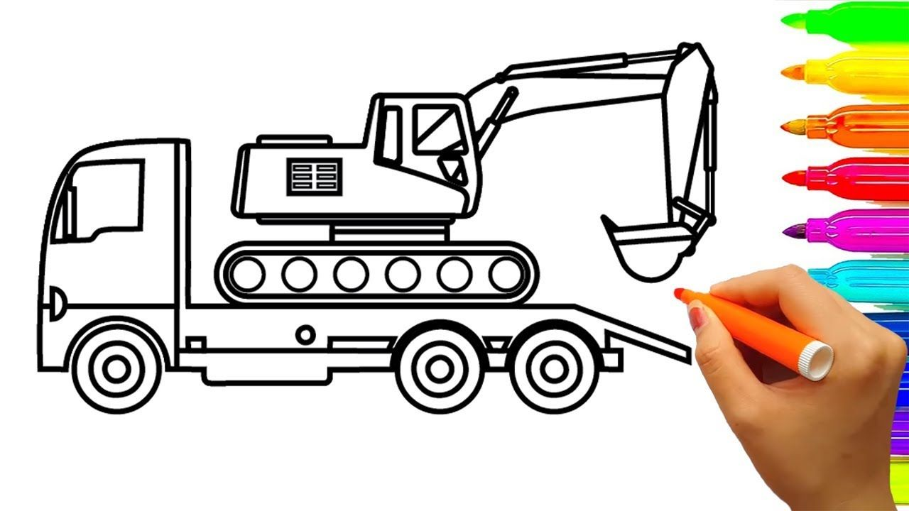 Construction Truck Coloring Pages Excavator Colouring Book For Children