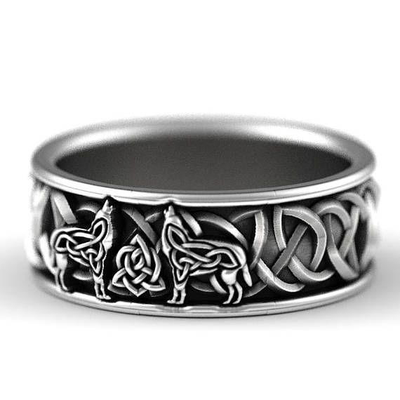 Sterling Silver Celtic Wolf Ring, Wolf Wedding Band, Celtic