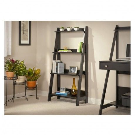 Beautiful Ladder Bookshelf Design Inspiration Come With Dark Grey Stained Wooden Ladder Shelf Together 4 Tier And 3 White Ceramic Vase With Plants Plus Colourful Books Also Brown Contemporary Glass a part of  under Furniture