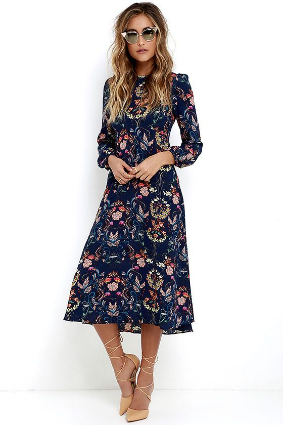 51df9ebee990 Boho Midi Dress - Navy Blue Dress - Floral Print Dress - Long Sleeve Dress  -  67.00