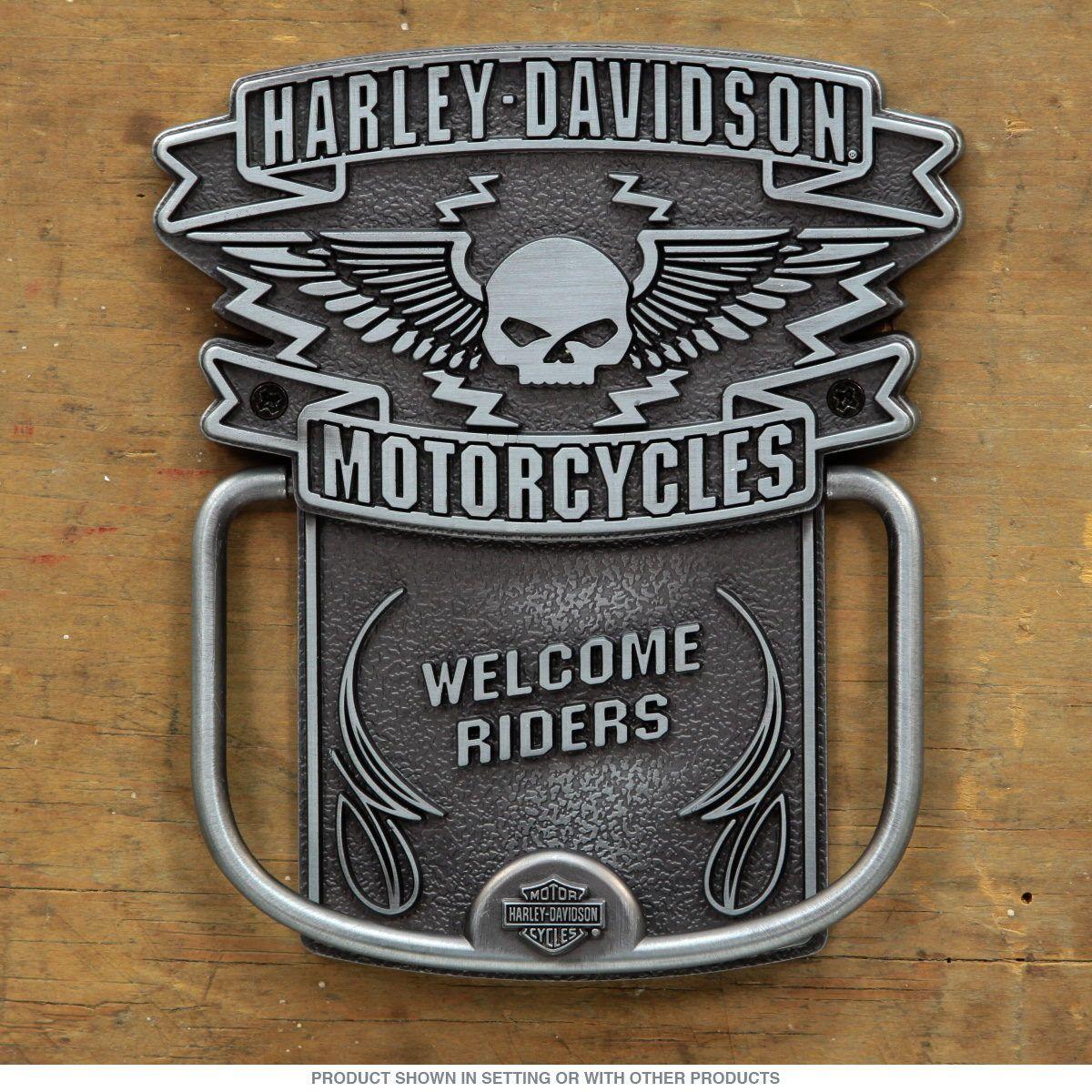 Harley davidson winged willie g skull door knockerd harley harley davidson winged skull door knocker biker home decor retroplanet teraionfo