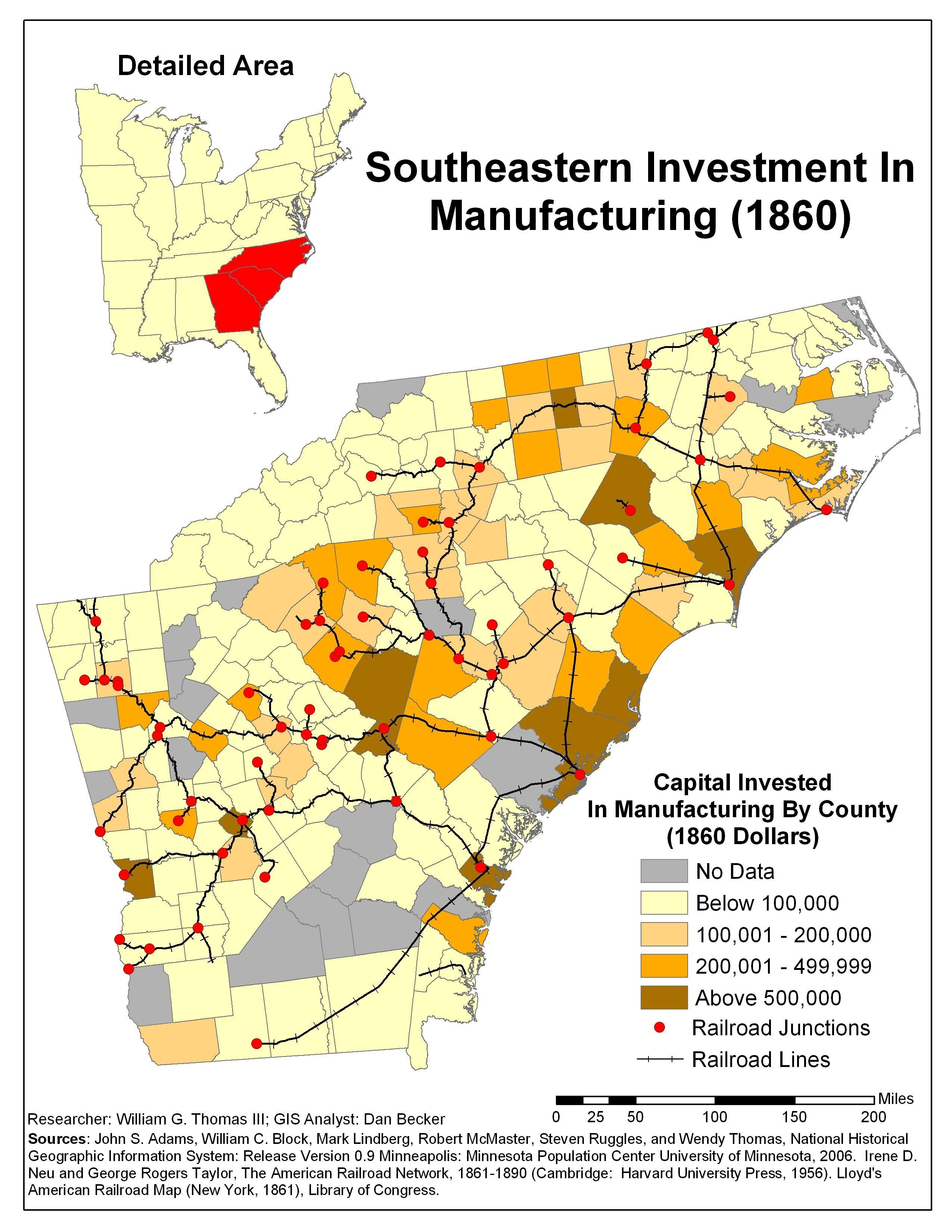 Southeastern Investment In Manufacturing - Map of america 1860