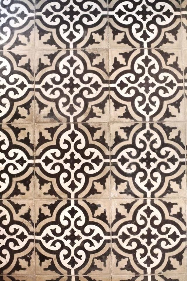 Moroccan Tile Cream And Tan And Black Pattern Tile Moroccan Style ...