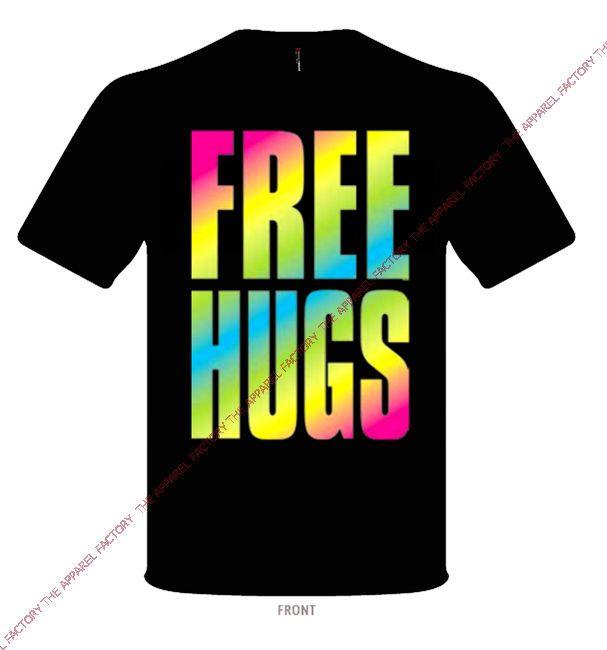 New RAINBOW FREE HUGS Sweatshirt hoodie rave party prank gay 420 blunt weed