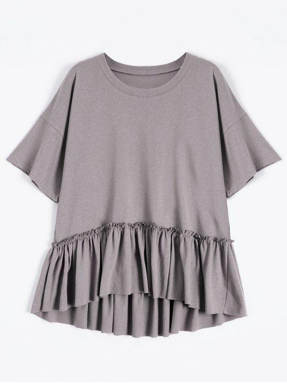 b32360957ee60 Short Sleeve Ruffle Hem T-Shirt - SMASHING ONE SIZE