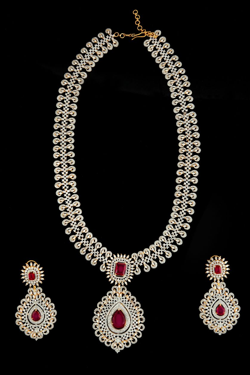 Gold rani haar pictures to pin on pinterest - American Diamonds Rani Haar With Ruby Stone In Two Tone Plating