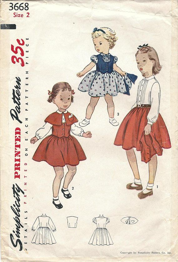 1950s Simplicity 3668 Vintage Sewing Pattern Toddler One Piece Dress ...