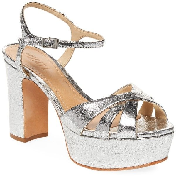 dd7c77b139d Schutz Women s Metallic-Leather Platform Sandal - Silver