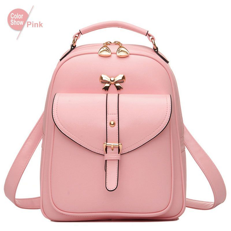 RoyaDong 2016 Small Leather Backpack Women Cute Bow Black Fashion School  Bags For Teenage Girls 23fa23fa8e602