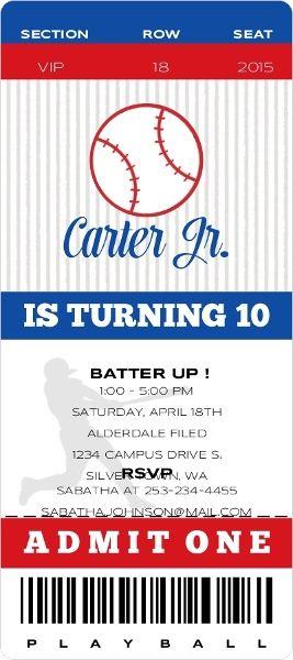 VIP Baseball Ticket Birthday Party Invitation By Inviteshop