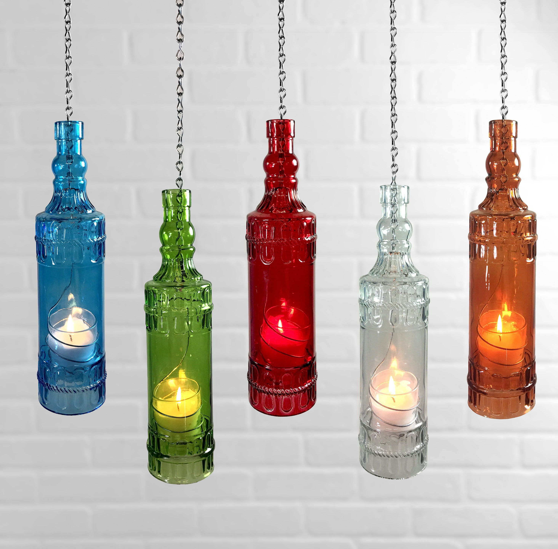 Hanging Bottle Lantern Etsy Wine Bottle Lanterns Wine Bottle Wine Bottle Wind Chimes