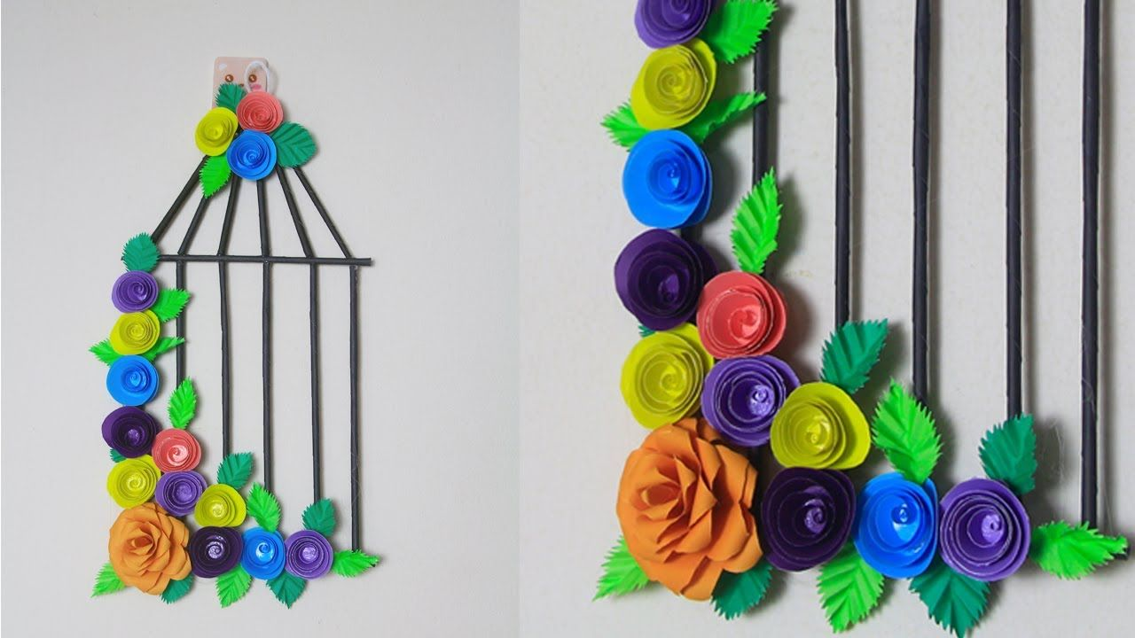Photo of DIY Room Decor Bird Case With Paper Flower | Origami Rose Flower Wall Hanging